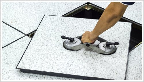 professional data center cleaning removing raised floor tile