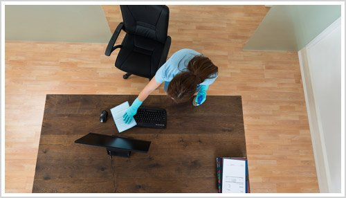office cleaning professional in action